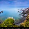 Europe - UK - England - Devon - Hartland Devon Heritage Coast - Hartland Quay - Dramatic rocky coast along Atlantic Ocean with Warren Cliff and large upright chevron folds