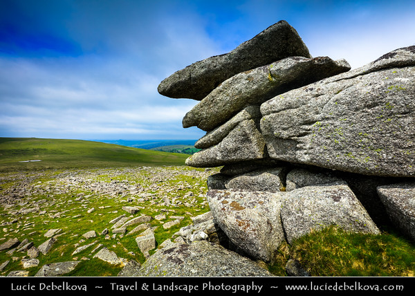 Europe - UK - England - Devon - Dartmoor National Park - Mid and Great Staple Tor - Tor famous for its towers (or steeples) of granite blocks that perch on each other creating unusual shapes