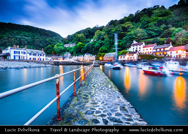 Europe - UK - England - Devon - Exmoor National Park - Lynmouth - Harbour in charming historical village at confluence of West Lyn & East Lyn rivers  in gorge 700 feet (210 m) below Lynton