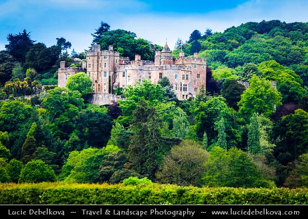 Europe - UK - England - Somerset - Dunster Castle, former motte and bailey castle located in village of Dunster
