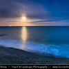 Europe - UK - United Kingdom - England - Dorset - Jurassic Coast - UNESCO World Heritage Site - Swanage - Most easterly coastal town on Jurassic Coast with gently shelving sandy beach and sheltered waters in wide Swanage Bay - Night Sky with Full Moon