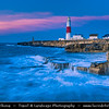 Europe - UK - United Kingdom - England - Dorset - Jurassic Coast - Isle of Portland - Portland Bill Lighthouse - Distinctively white & red striped lighthouse, built in 1906 and is 35 metres (115 ft) high - Important way-point for coastal traffic to protect shipping, in particular from its strong tidal race and shallow reef