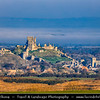 Europe - UK - United Kingdom - England - Dorset - Corfe Castle - One of Britain's most iconic locations - Dramatic ruins of Corfe Castle stand on natural hill guarding principal route through Purbeck Hills