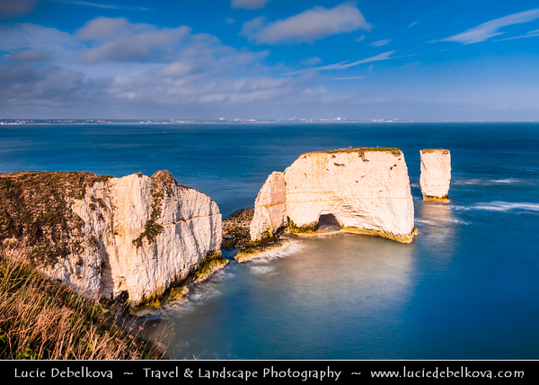 Europe - UK - United Kingdom - England - Dorset - Jurassic Coast - UNESCO World Heritage Site - Old Harry Rocks - Three chalk formations, including stack & stump at Handfast Point on Isle of Purbeck