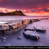 Europe - UK - United Kingdom - England - Dorset - Jurassic Coast - UNESCO World Heritage Site - Kimmeridge Bay - Stunning location of special scientific interest - One of most fossil rich places with long rock ledges, pebbled beach line & rocky outcrops at Sunset