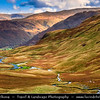 Europe - UK - United Kingdom - England - North West England - Cumbria - Lakes - Lake District National Park - Classic landscape with mountains - Hardknott Pass - Mountain Pass known as one of Britain's most challenging roads - Steepest road in England with maximum gradient of 1 in 3 (about 33%)