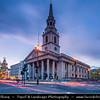 Europe - UK - United Kingdom - England - London - Trafalgar Square - St. Martin in Fields - Anglican church at Dusk - Twilight - Blue Hour