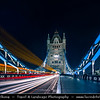 Europe - UK - United Kingdom - England - London - Tower Bridge on banks of River Thames at Dusk - Twilight - Blue Hour - Night