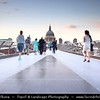 UK - England - Dusk at St. Paul's Cathedral and the Millennium bridge over the river Thames in London