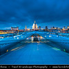 Europe - UK - England - London - St. Paul's Cathedral & Millennium Footbridge - Footbridge steel suspension bridge crossing the River Thames linking Bankside with the City, located between Southwark Bridge (downstream) and Blackfriars Railway Bridge (upstream)