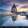 Europe - UK - United Kingdom - England - London - St. Paul's Cathedral - Anglican cathedral dedicated to Paul Apostle located at top of Ludgate Hill, highest point in City of London - Dusk - Twilight - Blue Hour - Night