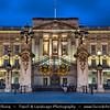 Europe - UK - United Kingdom - England - London - City of Westminster - Buckingham Palace - Official London residence & office of British monarch - Dusk - Twilight - Blue Hour - Night