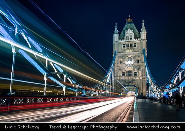 Europe - UK - United Kingdom - England - London - Tower Bridge on banks of River Thames at Dusk - Twilight - Blue Hour - Night