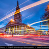 Europe - UK - United Kingdom - England - London - Trafalgar Square - St. Martin in Fields - Anglican church at Dusk - Twilight - Blue Hour