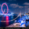 Europe - UK - United Kingdom - England - London - London Eye - Millennium Wheel - Giant 135-metre (443 ft) tall Ferris wheel situated on banks of River Thames