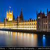 Europe - UK - England - London - Palace of Westminster - Houses of Parliament - Westminster Palace - Meeting place of the two houses of the Parliament of the United Kingdom - House of Lords & House of Commons on the north bank of the River Thames in the heart of the City of Westminster at Dusk - Twilight - Blue Hour