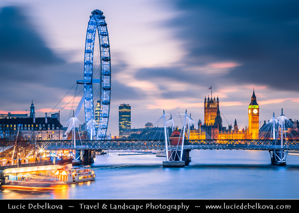 Europe - UK - United Kingdom - England - London - London Eye - Millennium Wheel - Giant 135-metre (443 ft) tall Ferris wheel situated on banks of River Thames