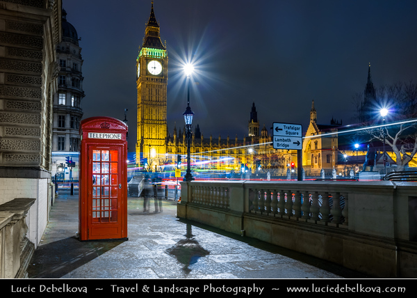 Europe - UK - United Kingdom - England - London - London - City of Westminster - Big Ben & Red Phone Booth with Double Decker Light Trails - Night