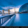 Europe - UK - England - London - Southwark - City Hall & Tower Bridge over River Thames - One of major tourist attraction at Dusk - Twilight - Blue Hour