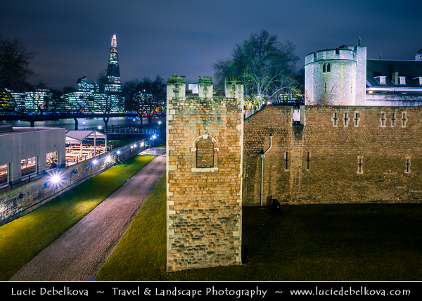 Europe - UK - United Kingdom - England - London - Tower of London - Her Majesty's Royal Palace and Fortress at Dusk - Twilight - Blue Hour