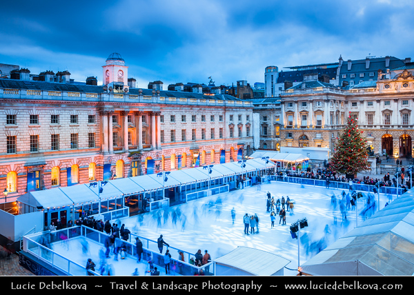 UK - England - London - Somerset House - Outdoor Winter Ice-skating rink - One of the most popular outdoor ice rinks in London -