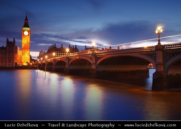 UK - England - London - Dusk over The Palace of Westminster, the Clock Tower - Big Ben and Westminster Bridge