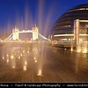 UK - England - London - City Hall & Tower Bridge - Suspension & bascule bridge over the River Thames - Iconic symbol of London