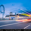 Europe - UK - England - London - Westminster Bridge over the River Thames in the heart of the City of Westminster & London Eye - Millennium Wheel at Dusk - Twilight - Blue Hour