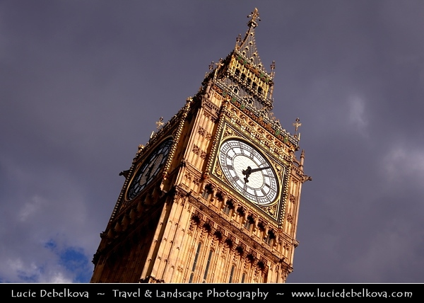 UK - England - London - Big Ben - One of London's best-known landmarks - Clock tower - The great bell of the clock at the north end of the Palace of Westminster in London