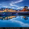 UK - Northern Ireland - County Antrim - Carrickfergus - Harbou town on the shore of Belfast Lough - Dusk - Twilight - Blue Hour - Night