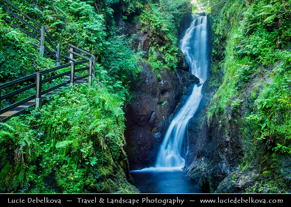 Europe - UK - Northern Ireland - County Antrim - Glenariff Nature Reserve - Glenariff Forest Park - Unique Waterfall Walkway throught stunning waterfalls in gorge