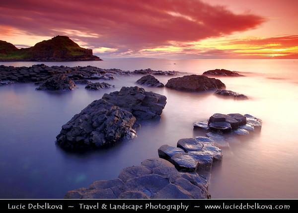 UK – Northern Ireland – Co. Antrim - Giant's Causeway - UNESCO World Heritage Site - Area of about 40,000 interlocking basalt columns, the result of an ancient volcanic eruption - Sunset - Dusk - Twilight - Blue Hour - Night