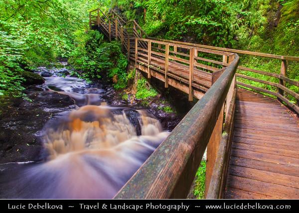 Europe - UK - Northern Ireland - County Antrim - Glenariff Nature Reserve - Glenariff Forest Park - Unique Waterfall Walkway throught stunning waterfalls in gorge