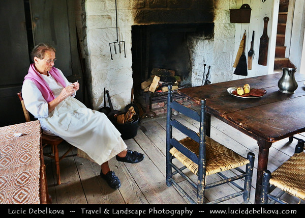 UK - Northern Ireland - Co Tyrone - Omagh - Ulster American Folk Park - emigrant trail as you journey from the thatched cottages of Ulster, on board a full scale emigrant sailing ship leading to the log cabins of the American Frontier