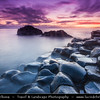 UK – Northern Ireland – Co. Antrim - Giant's Causeway - UNESCO World Heritage Site - Area of about 40,000 interlocking basalt columns, the result of an ancient volcanic eruption - Sunset - Dusk - Twilight - Blue Hour - Night