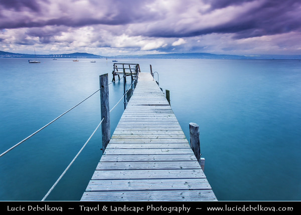 Europe - UK - Northern Ireland - Belfast Surrounding - Wooden jetty at Holywood Yacht Club leading out into Belfast Lough - Loch Lao - Loch Laoigh - Craigfergus Loch - Large, natural intertidal sea lough at the mouth of the River Lagan on the east coast, gateway for Belfast to the Irish Sea