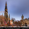Europe - UK - Scotland - Edinburgh - Dun Eideann - Capital city of Scotland & Seat of Scottish Parliament - Christmas Wheel & The Scott Monument in Princes Street Gardens - Winter scene under heavy snow cover