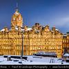 Europe - UK - Scotland - Edinburgh - Dùn Èideann - Capital city of Scotland & Seat of Scottish Parliament - Old Town skyline of the city - Winter Scene under heavy snow cover