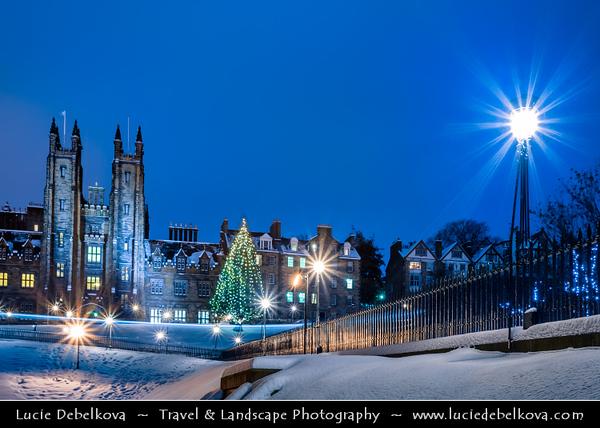 Europe - UK - Scotland - Edinburgh - Dùn Èideann - Capital city of Scotland & Seat of Scottish Parliament - View of Old Town & Free Church College - Winter scene under heavy snow cover - Dusk - Twilight - Blue Hour