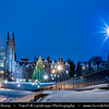 Europe - UK - Scotland - Edinburgh - Dùn Èideann - Capital city of Scotland & Seat of Scottish Parliament - View of Old Town & Free Church College - Winter scene under heavy snow cover - Dusk - Twilight - Blue Hour