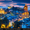 Europe - UK - United Kingdom - Scotland - Edinburgh - Dùn Èideann - Capital city of Scotland & Seat of Scottish Parliament - City View from Calton Hill featuring the impressive Balmoral Hotel Clock Tower at Blue Hour - Dusk - Twilight - Night