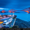 Europe - UK - United Kingdom - Scotland - Edinburgh - Forth railway Bridge spans the Firth of Forth connecting Edinburgh, at South Queensferry to Fife, at North Queensferry at Dusk - Twilight - Blue Hour - Night