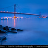 Europe - UK - Scotland - Edinburgh - Forth Road Bridge -  Suspension bridge spans the Firth of Forth connecting Edinburgh, at South Queensferry, to Fife, at North Queensferry - Dawn - Twilight - Blue Hour - Night