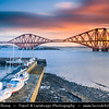 Europe - UK - United Kingdom - Scotland - Edinburgh - Forth railway Bridge spans the Firth of Forth connecting Edinburgh, at South Queensferry to Fife, at North Queensferry at Sunrise