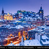 Europe - UK - Scotland - Edinburgh - Dùn Èideann - Capital city of Scotland & Seat of Scottish Parliament - City View from Calton Hill - Edinburgh Castle - Fortress dominating city skyline from its position atop volcanic Castle Rock - Winter scene under heavy snow cover