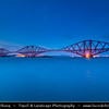Europe - UK - United Kingdom - Scotland - Edinburgh - Forth railEurope - UK - United Kingdom - Scotland - Edinburgh - Forth railway Bridge spans the Firth of Forth connecting Edinburgh, at South Queensferry to Fife, at North Queensferry at Dusk - Twilight - Blue Hour - Night