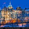 Europe - UK - Scotland - Edinburgh - Dùn Èideann - Capital city of Scotland & Seat of Scottish Parliament - Edinburgh Skyline & Bank of Scotland HQ - Winter scene under heavy snow cover - Dusk - Twilight - Blue Hour - Night