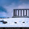 Europe - UK - Scotland - Edinburgh - Dùn Èideann - Capital city of Scotland & Seat of Scottish Parliament - Edinburgh Skyline from Calton Hill - Winter scene under heavy snow cover -  The National Monument