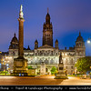 Europe - UK - United Kingdom - Scotland - Glasgow - Glesga - George square at the city centre at Dusk - Twilight - Blue Hour