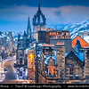 Europe - UK - Scotland - Edinburgh - Dùn Èideann - Capital city of Scotland & Seat of Scottish Parliament - View of Old Town - Winter scene under heavy snow cover